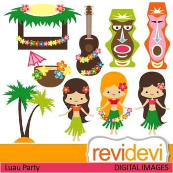 Clip art Hawaiian Party (girls, luau, plumeria, tiki)