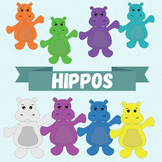 "Clip-art ""Hippos"" - Rainbow Happy Hippos - 15 images"