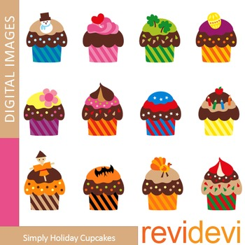 Clip art Holiday Cupcakes (January to December) clipart