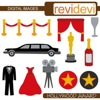Clip art Hollywood award (red carpet party, tuxedo, limousine, red, black)