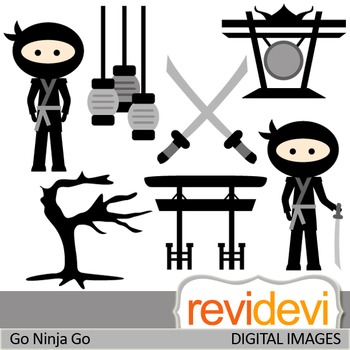 Clip art Japanese Black Ninja (clipart for commercial use and personal use)