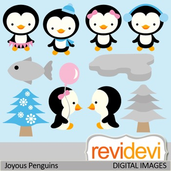 Clip art Joyous Penguins 07434 (cute penguins clipart)