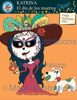 Clip art Katrina, Halloween, día de los muertos clipart, hand made illustration