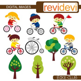 Clip art Kids and Bicycle (bike club)
