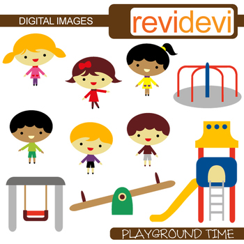 Clip art Kids playing at playground