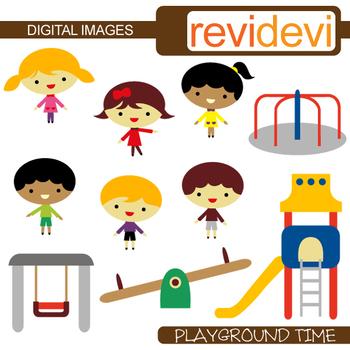 Clip art Kids playing at playground
