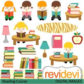 Clip art Kids reading (boys, girls, books, library, studen