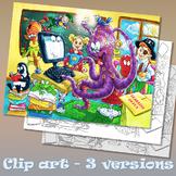 Cartoon School Classroom Clip Art + BLACK and WHITE colori