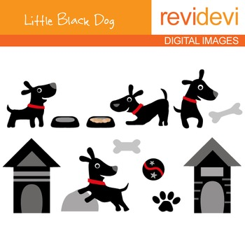 Clip art Little Black Dog (puppy, dog house, pet) 07100