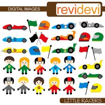 Clip art Little Racers 30 graphics (kids, race cars, helmets, flags, racing)