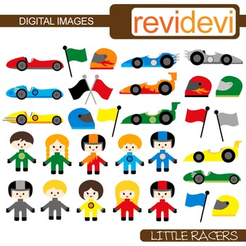 Clip art Little Racers 30 graphics (kids, race cars, helme