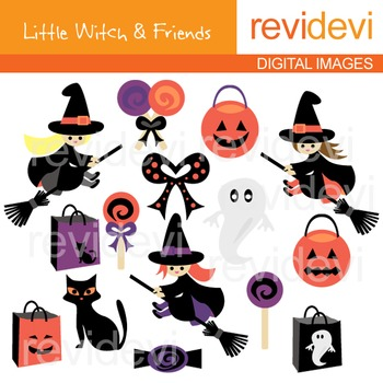Clip art Little Witch and Friends (halloween cliparts) 08052