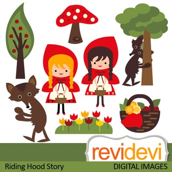 Clip art: Little red riding hood inspired (cute clipart)