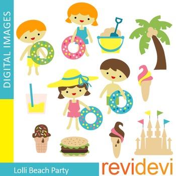 Clip art Lolli Beach Party (summer graphic clipart) 07323
