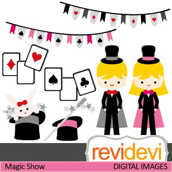Clip art Magic Show 07406 (magician, girl, boy, play cards) clipart for teachers