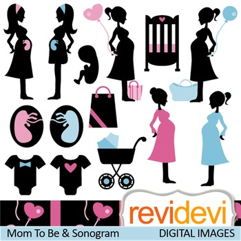 Clip art Mom To Be and Sonogram (silhouette pregant woman) clipart