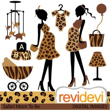 Clip art Mom to be safari prints (pregnant woman, maternity) clipart