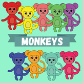"Clip-art ""Monkeys"" - Rainbow Monkeys - 20 images"