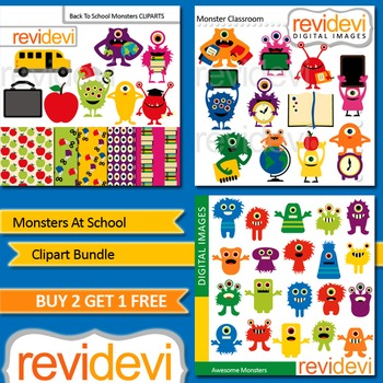 Clip art Monsters at school (3 packs) back to school clipart, cute monsters