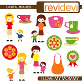 Clip art Mother and Kids (son, daughter, mom, family) mother's day clipart