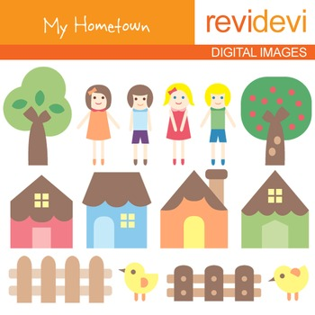 Clip art My Hometown (kids, houses, trees) clipart for teachers, 07054
