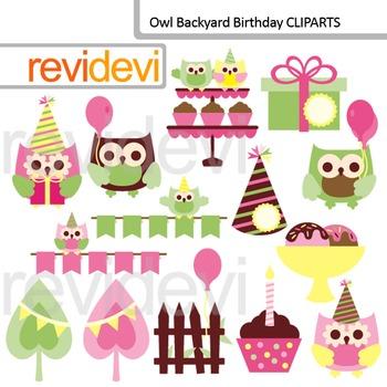 Clip art: Owl backyard birthday (commercial use)