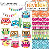 Clip art: Owl summertime (cute owls, surf boards, summer) clipart