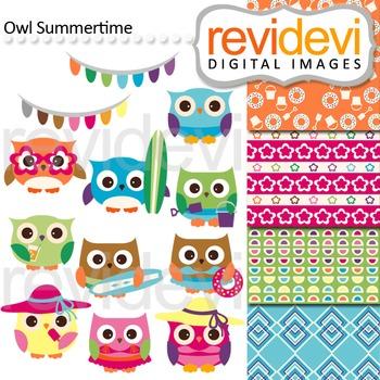 Clip art: Owl summertime (cute owls, surf boards, summer) clipart
