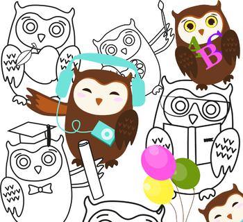 Clip art. Owls in various activities: study,  travel, holiday end etc.