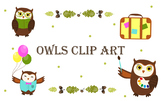 Clip art. Owls in various activities: study,  travel, holi