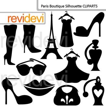 Clip art Paris Boutique Silhouette (fashion, woman accessories, boots) clipart