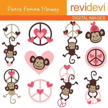 Clip art Peace Female Monkeys (hanging monkey, peace sign, pink) 07114