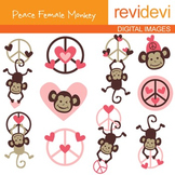 Clip art Peace Female Monkeys (hanging monkey, peace sign, pink) 07114