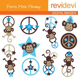 Clip art Peace Male Monkeys (hanging monkeys, peace sign, blue) 07115