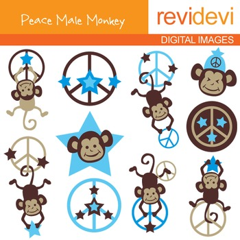 Clip art Peace Male Monkeys (hanging monkeys, peace sign,