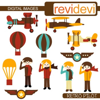 Clip art Pilot and Vintage planes