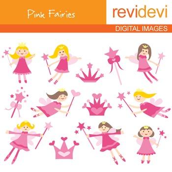Clip art Pink Fairies (flying fairy, magic wand) clipart f
