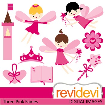 Clip art Pink Flying Fairies (fantasy, girls, magic wand, fairytale) clipart