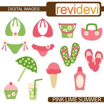 Clip art Pink Green Lime Summer (bikini, flip flop)