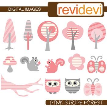 Clip art: Pink Grey Stripe Forest (owls, trees, squirrels, butterflies)