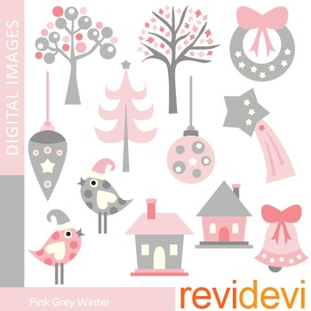 Clip art Pink Grey Winter (trees, birds, ornaments, houses) clipart