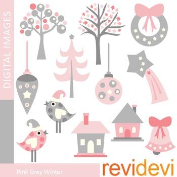 Clip art Pink Grey Winter (trees, birds, ornaments, houses
