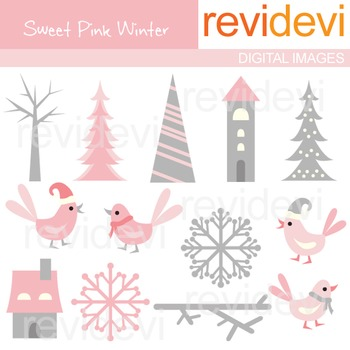 Clip art Pink Grey winter (trees, birds, snowflakes)