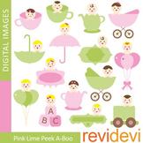 Clip art Pink Lime Peek-a-boo (cute babies) 07345