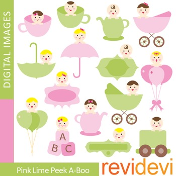 Clip art Pink Lime Peek-a-boo (cute babies) 07345