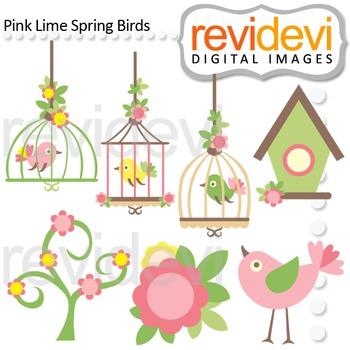 Clip art Pink Lime Spring Birds (birdcages, birdhouse) clipart