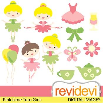 Clip art Pink Lime Tutu Girls 07321 (ballerina, tea party, girls) clipart