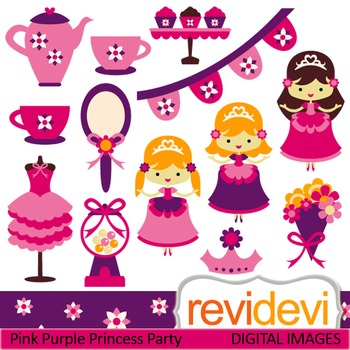 Clip art Pink Purple Princess Party 07377 (girls, tea sets) cute clipart