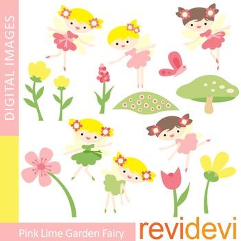 Clip art Pink lime garden fairies (cute fairy, girl clipart)