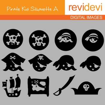 Clip art Pirate Kid Silhouette A (digital graphics) 07084